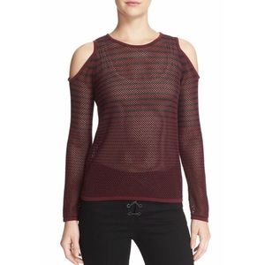 NWT RAG&BONE/JEAN Burgundy Stripe ColdShoulder Top